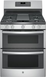 "JGB860SEJSS GE 30"" Free-Standing Gas Double Oven Convection Range with Edge-to-edge Cooktop - Stainless Steel"