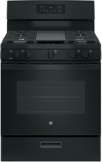 "JGBS66DEKBB GE 30"" Free-Standing Gas Range with Edge to Edge Cooktop - Black"