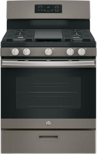 "JGBS66EEKES GE 30"" Free-Standing Gas Range with Edge to Edge Cooktop - Slate"