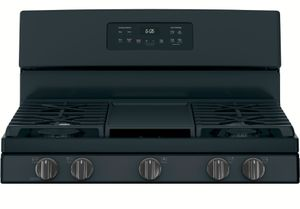 "JGBS66FEKDS GE 30"" Free-Standing Gas Range with Edge to Edge Cooktop and Precise Simmer Burner - Black Slate"