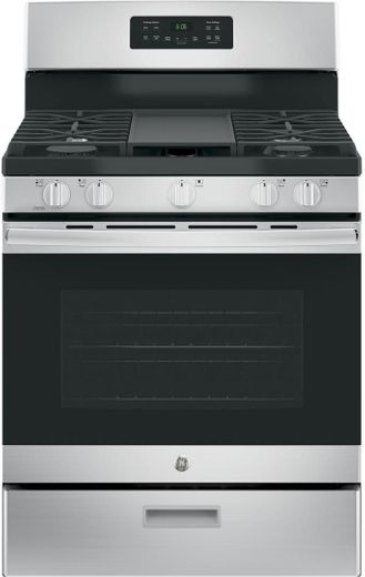 "JGBS66REKSS GE 30"" Free-Standing Gas Range with Edge to Edge Cooktop - Stainless Steel"