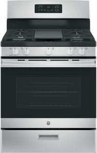 """JGBS66REKSS GE 30"""" Free-Standing Gas Range with Edge to Edge Cooktop - Stainless Steel"""
