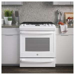 """JGS760DELWW GE 30"""" Slide-In Front Control Gas Range with Convection and Self-Clean - White"""