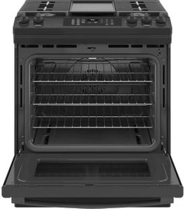 """JGS760DPBB GE 30"""" Slide-In Front Control Convection Gas Range with No Preheat Air Fry and Self-Clean - Black"""