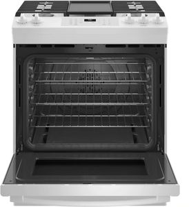 """JGS760DPWW GE 30"""" Slide-In Front Control Convection Gas Range with No Preheat Air Fry and Self-Clean - White"""
