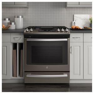 "JGS760EELES GE 30"" Slide-In Front Control Gas Range with Convection and Self-Clean - Slate"