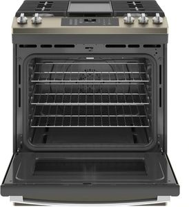 """JGS760EPES GE 30"""" Slide-In Front Control Convection Gas Range with No Preheat Air Fry and Self-Clean - Slate"""