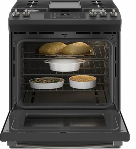 """JGS760FPDS GE 30"""" Slide-In Front Control Convection Gas Range with No Preheat Air Fry and Self-Clean - Black Slate"""