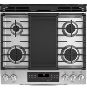 "JGS760SELSS GE 30"" Slide-In Front Control Gas Range with Convection and Self-Clean - Stainless Steel"