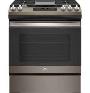 """JGSS66EELES GE 30"""" Slide-In Front Control Gas Range with Steam Clean and In-Oven Broil - Slate"""