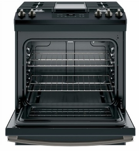 """JGSS66FELDS GE 30"""" Slide-In Front Control Gas Range with Steam Clean and In-Oven Broil - Black Slate"""
