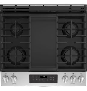 "JGSS66SELSS GE 30"" Slide-In Front Control Gas Range with Steam Clean and In-Oven Broil - Stainless Steel"