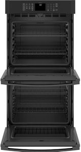 """JKD3000DNBB GE 27"""" Electric Built-In Double Wall Oven with Never Scrub Heavy Duty Racks and Self Clean - Black"""