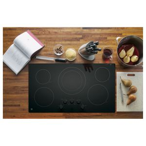"""JP3036DLBB GE 36"""" Built-In Knob Control Electric Cooktop with 5 Radiant Elements and Hot Surface Indicator Lights - Black"""