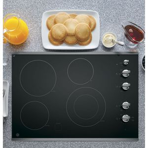 """JP3530SJSS GE 30"""" Built-In Knob Control Electric Cooktop with 4 Cooking Elements - Black with Stainless Steel Trim"""