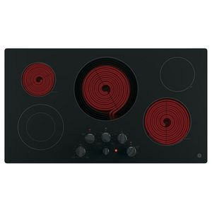 """JP3536DJBB GE 36"""" Built-In Knob Control Electric Cooktop with 5 Radiant Elements - Black"""