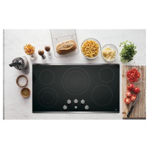 "JP3536SJSS GE 36"" Built-In Knob Control Electric Cooktop with 5 Radiant Elements - Black with Stainless Steel"