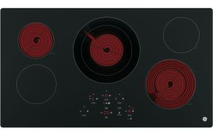 "JP5036DJBB GE 36"" Built-In Touch Control Electric Cooktop with 5 Radiant Elements - Black"