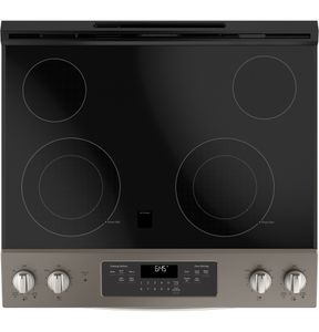 """JS645ELES GE 30"""" Slide-In Front Control Electric Range with Power Boil and Self-Clean - Slate"""