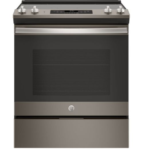 "JS645ELES GE 30"" Slide-In Front Control Electric Range with Power Boil and Self-Clean - Slate"