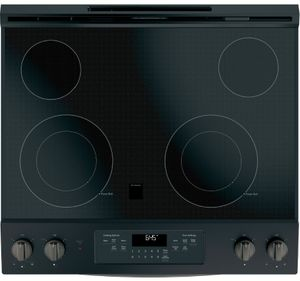 "JS645FLDS GE 30"" Slide-In Front Control Electric Range with Power Boil and Self-Clean - Black Slate"