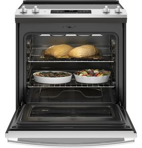 "JS645SLSS GE 30"" Slide-In Front Control Electric Range with Power Boil and Self-Clean - Stainless Steel"