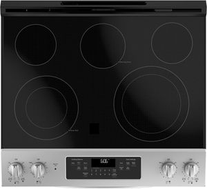 """JS660SLSS GE 30"""" Slide-In Front Control Electric Range with Dual-Element Bake and Self-Clean - Stainless Steel"""