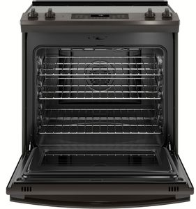 """JS760BLTS GE 30"""" Slide-In Front Control Electric Range with Dual-Element Bake and True European Convection - Black Stainless Steel"""
