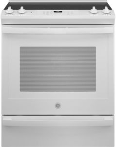 """JS760DPWW GE 30"""" Slide In Electric Convection Range with No Preheat Airfry - White"""
