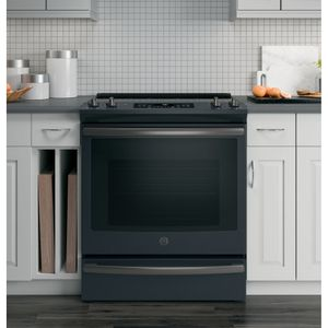 """JS760FLDS GE 30"""" Slide-In Front Control Electric Range with Dual-Element Bake and True European Convection - Black Slate"""