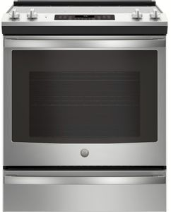 """JS760SLSS GE 30"""" Slide-In Front Control Electric Range with Dual-Element Bake and True European Convection"""