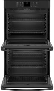 "JTD3000DNBB GE 30"" Electric Built-In Double Wall Oven with Never Scrub Heavy Duty Racks and Self Clean - Black"
