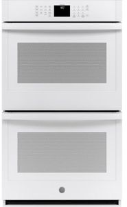 "JTD3000DNWW GE 30"" Electric Built-In Double Wall Oven with Never Scrub Heavy Duty Racks and Self Clean - White"
