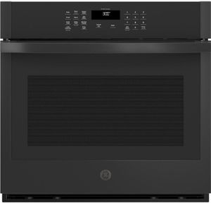 "JTS3000DNBB GE 30"" Electric Built-In Single Wall Oven with Never Scrub Heavy Duty Racks and Self Clean - Black"