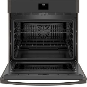 "JTS5000BNTS GE 30"" Electric Built-In Single Wall Oven with True European Convection and Self Clean - Black Stainless Steel"