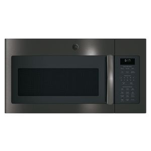 """JVM6175BLTS GE 30"""" 1.7 cu. ft. Over-the-Range Microwave with 1,000 Watts, 300 CFM Ventilation and 10 Power Levels - Black Stainless Steel"""
