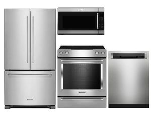 Package K1 - KitchenAid Appliance Package - 4 Piece Appliance Package with Electric Range - Stainless Steel