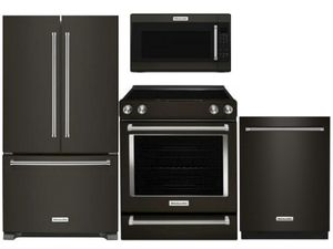 Package KB1 - KitchenAid Appliance Package - 4 Piece Appliance Package with Electric Range - Black Stainless Steel