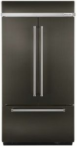 """KBFN506EBS KitchenAid 20.8 Cu. Ft. 36"""" French Door Refrigerator with Preserva Food Care System and LED Lighting  - Black Stainless Steel"""