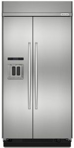 """KBSD608ESS KitchenAid 29.5 Cu. Ft 48"""" Width Built-In Side by Side Refrigerator - Stainless Steel"""
