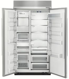 "KBSN602ESS KitchenAid 25.5 cu. ft. 42"" Width Built-In Side by Side Refrigerator with ExtendFresh Plus Temperature Management System and SatinGlide Crispers - PrintShield Stainless Steel"