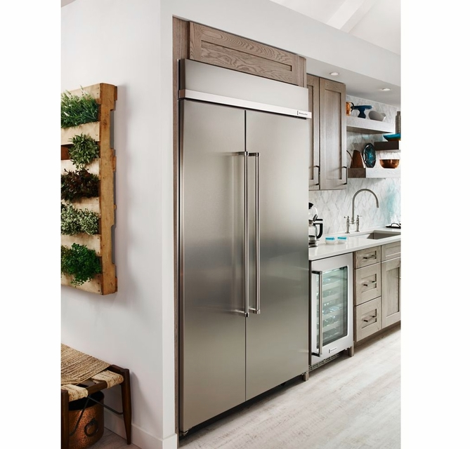 Kbsn608ess Kitchenaid 48 30 0 Cu Ft Built In Side By Side Refrigerator With Extendfresh Plus Temperature Management And Satinglide Crispers Printshied Stainless Steel