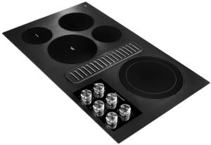 """KCED606GBL KitchenAid 36"""" Electric Downdraft Cooktop with 300 CFM and 3-Speed Fan Control - Black"""