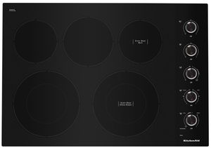 "KCES550HBL KitchenAid 30"" Electric 5 Element Cooktop with Hot Surface Indicator and Ultra Power Element - Black"