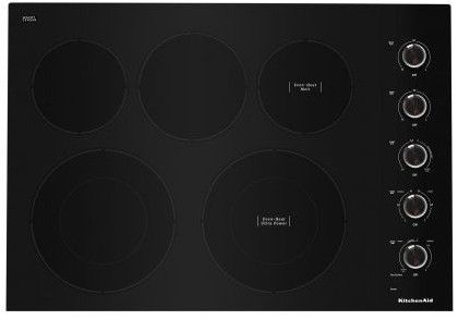 """KCES550HBL KitchenAid 30"""" Electric 5 Element Cooktop with Hot Surface Indicator and Ultra Power Element - Black"""