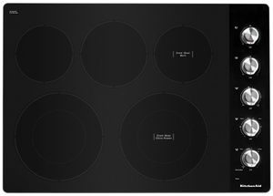 "KCES550HSS KitchenAid 30"" Electric 5 Element Cooktop with Hot Surface Indicator and Ultra Power Element - Black with Stainless Steel Knobs"