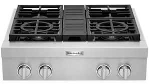 """KCGC500GSS KitchenAid 30"""" 4 Burner Commercial Style Gas Rangetop with Three Level Convertible Grates and Two Ultra Power Dual Flame Burners - Stainless Steel"""