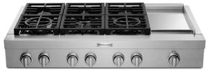 "KCGC558JSS KitchenAid 48"" 6 Burner Commercial Style Gas Rangetop with Chrome Infused Electric Griddle and Two Ultra Power Dual Flame Burners - Stainless Steel"