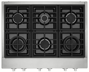 """KCGC558JSS KitchenAid 48"""" 6 Burner Commercial Style Gas Rangetop with Chrome Infused Electric Griddle and Two Ultra Power Dual Flame Burners - Stainless Steel"""