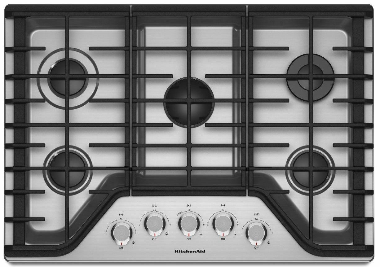 Kcgs356ess Kitchenaid 36 5 Burner Gas Cooktop With Simmer Stainless Steel Code 19519 Manufacturer Model